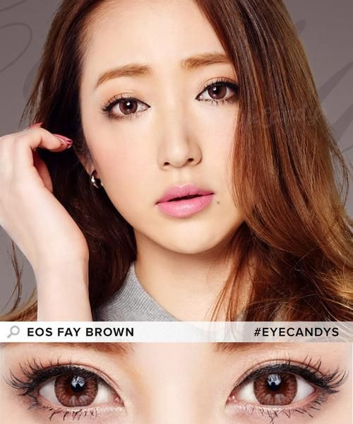 EOS Fay Brown contact lenses feature a yellowish beige that's reminiscent of warm honey. It's 2-3 shades lighter than regular dark eyes. This is one of the most natural options for our brown-eyed customers.