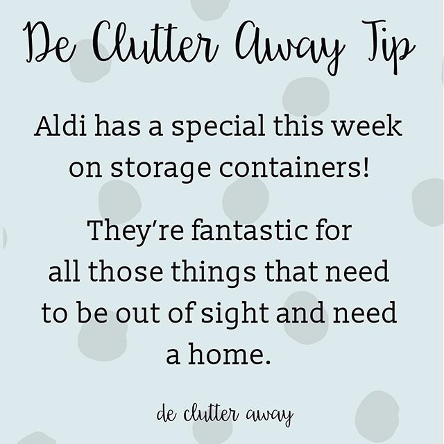 My tip today is to get into your local Aldi for some storage containers! They're so useful in so many situations.  #tip #tiptuesday #cleaning #dejunk #homes #interior #removals #professionalorganiser #professionalorganizer #declutter #decluttering #home #brisbane #brisbanehomes #brisbanesmallbusiness #brisbaneig #queensland #queenslandhomes #brissie #organise #organize #aldi