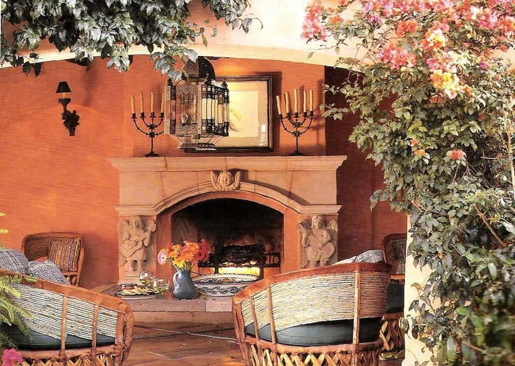 This Beautiful Terra Cotta Arched Mantel Is The Focal Point For This Loggia