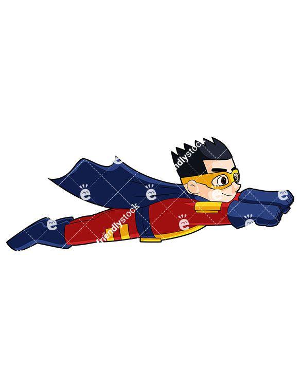 Boy Superhero Flying Like Superman Cartoon Vector Clipart Friendlystock Superman Kids Superhero Cartoons Vector