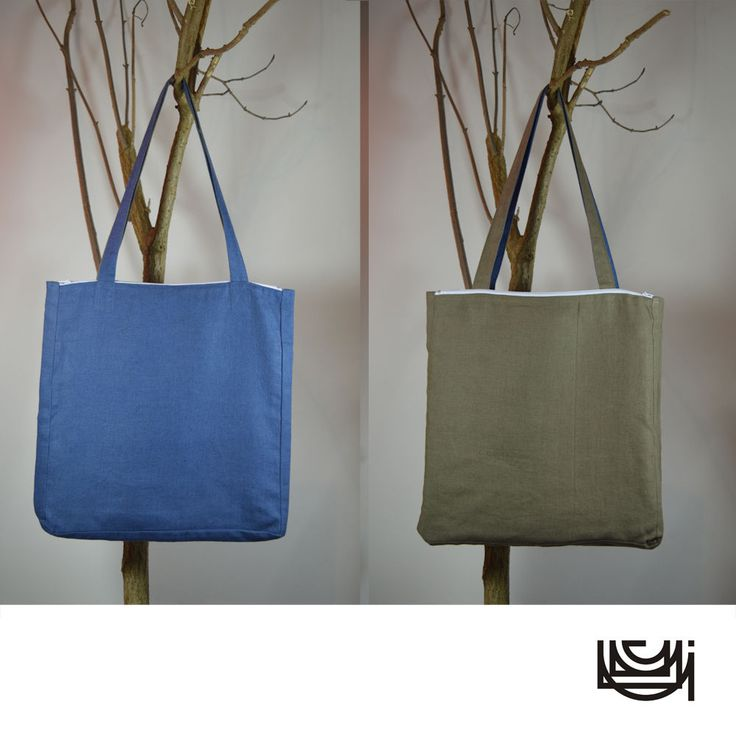 "Pure Linen Shopper Tote Bag with zipper pockets ""Army or Navy"""