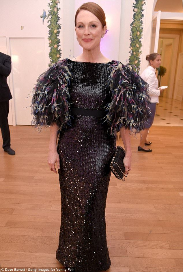 Chanel-lo! Julianne Moore once again nailed it in the style stakes as she made a dramatic appearance at Saturday night's Vanity Fair and HBO Dinner at Hotel du Cap-Eden-Roc during the southern France festivities