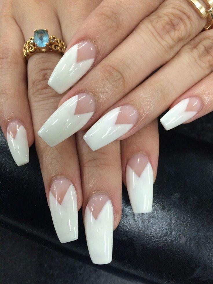 White Matte V French Long Coffin Nails #nail #nailart