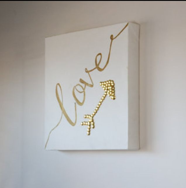 Love and gold arrow wall canvas. Art work for the home. Gold home decor