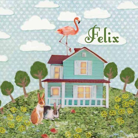 Geboortekaartje Felix - vrolijke retro vintage collage met huisje en flamingo - www.petitkonijn.nl