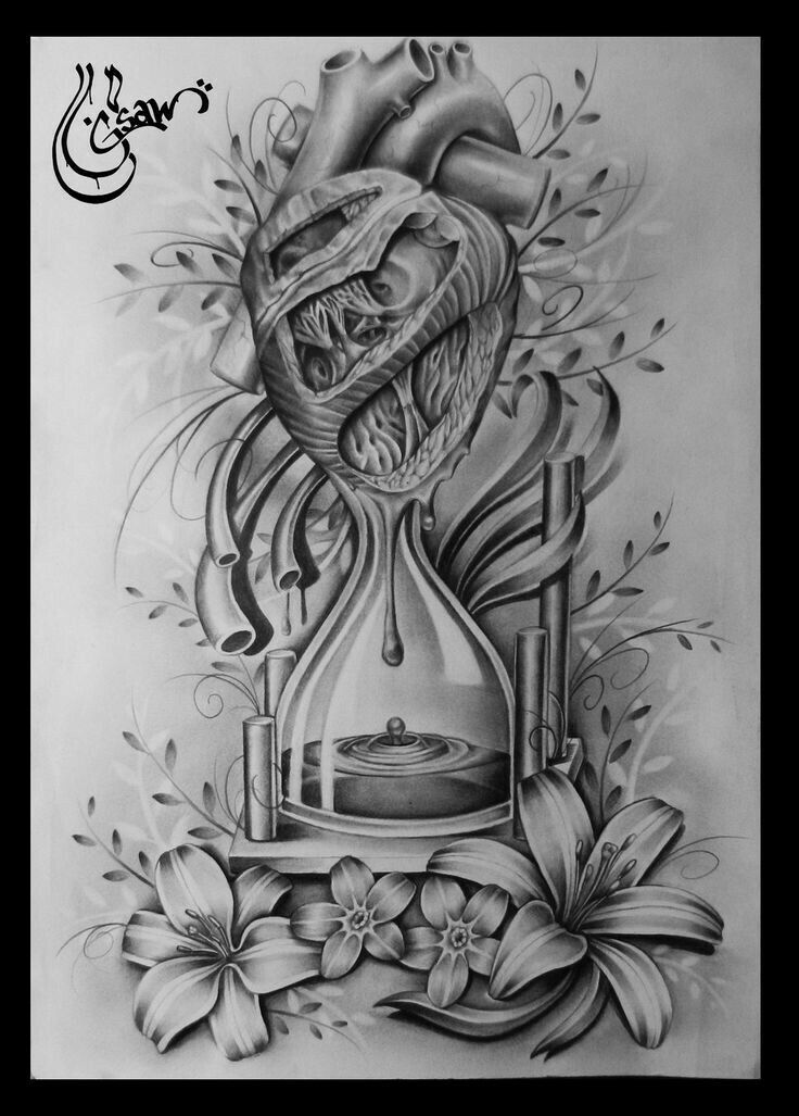 Heart and blood in time with flowers tattoo design
