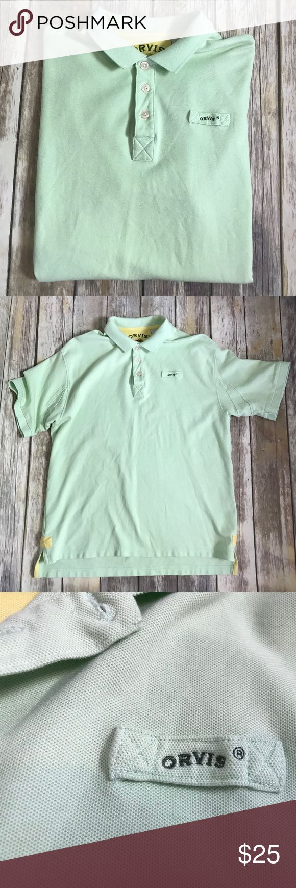 Orvis Spell Out Mens Polo Shirt Green Size Large L Orvis Men's Short Sleeve Polo Shirt w/ Spell Out - Green - Size Large L - EUC  Excellent pre-owned condition! No flaws. Item has been cleaned and is stored in a smoke free environment.   Approximate Measurements: Bust (measured pit to pit): 22.5 inches  Length of garment: 30 inches  B14_2017.11.18 Orvis Shirts Polos