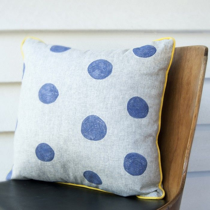 Blue dot with yellow cushion. Hand drawn on linen blend decorative pillow - by MakerandMerchant on madeit