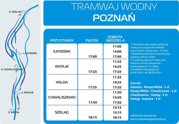 Rozkład rejsów Poznańskiego Tramwaju Wodnego w sezonie 2016