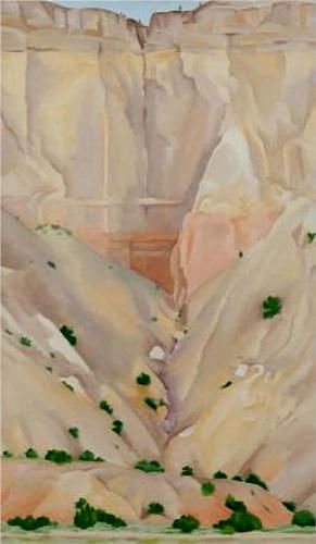 Georgia O'Keeffe. Cliffs Beyond Abiquiu, Dry Waterfall, 1943 - reminds me of road trip to TX