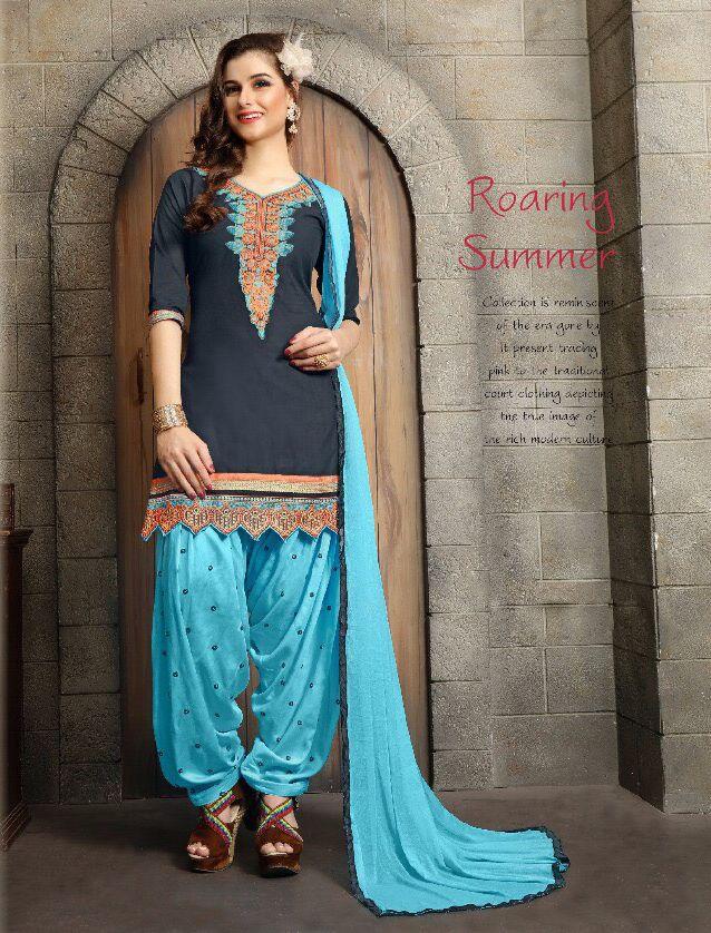 Click On Bazaar Navy Blue and Sky Blue Color Patiala Salwar Suit - ClickOnBazar  #onlinepatiala #designerpatialasalwar #patialasalwarsuits #designerpatialasalwar #clickonbazaarpatialasuits