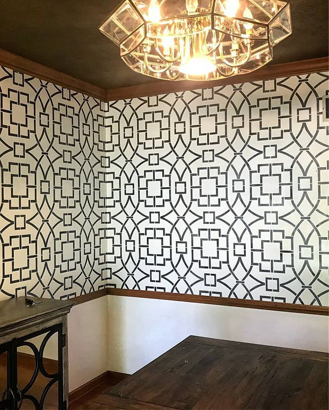 Painted wall paper look using Cutting Edge Stencils DIY wall