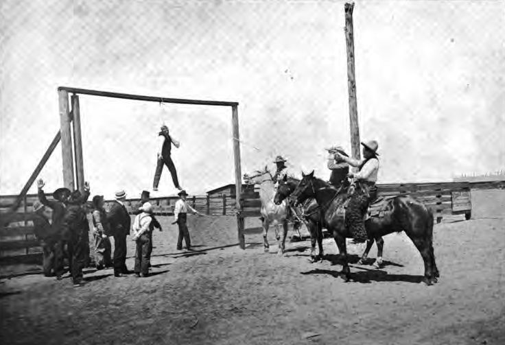 Hanging of a horse thief. 1900 - Native Sons of Oregon, Oregon Pioneer Association, Indian War Veterans and Historical Society
