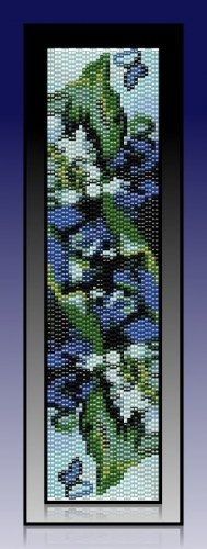 "This listed pattern for ""Royalty"" was created in 2 Drop Even Count Peyote stitch using Miyuki Delica, size 11 seed beads."