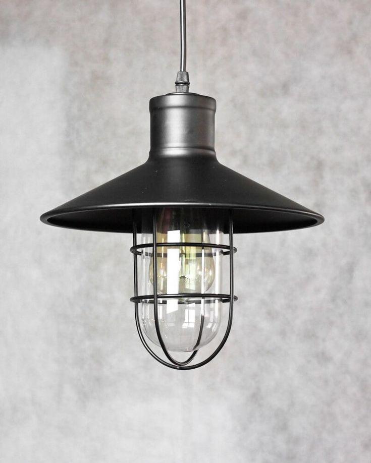 suspension industrielle grille vintage noire yura en. Black Bedroom Furniture Sets. Home Design Ideas