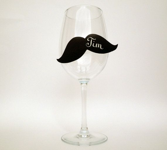 Hysterical! Mustache wine markers/ place cards.