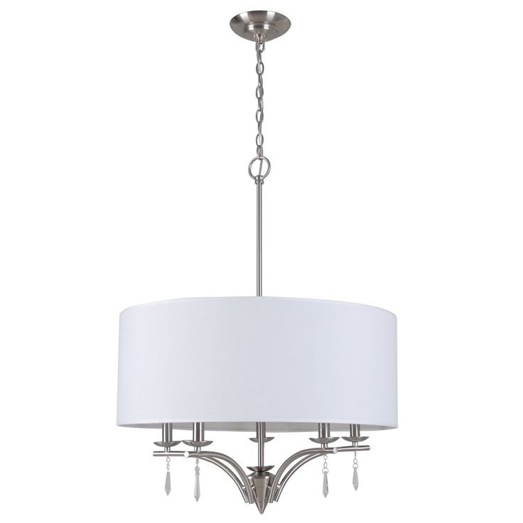 Style Selections 23-in W Brushed Nickel Hardwired Standard Pendant Light with Fabric Shade   Lowe's Canada
