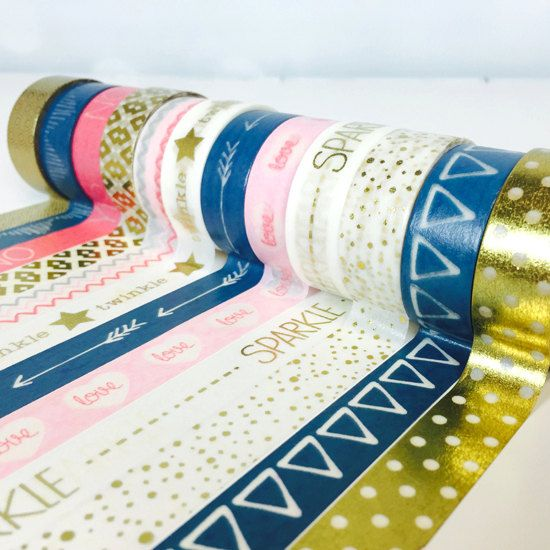 Washi Tape Set Touch of Gold 12 Roll Set by TheSupplyHaven on Etsy