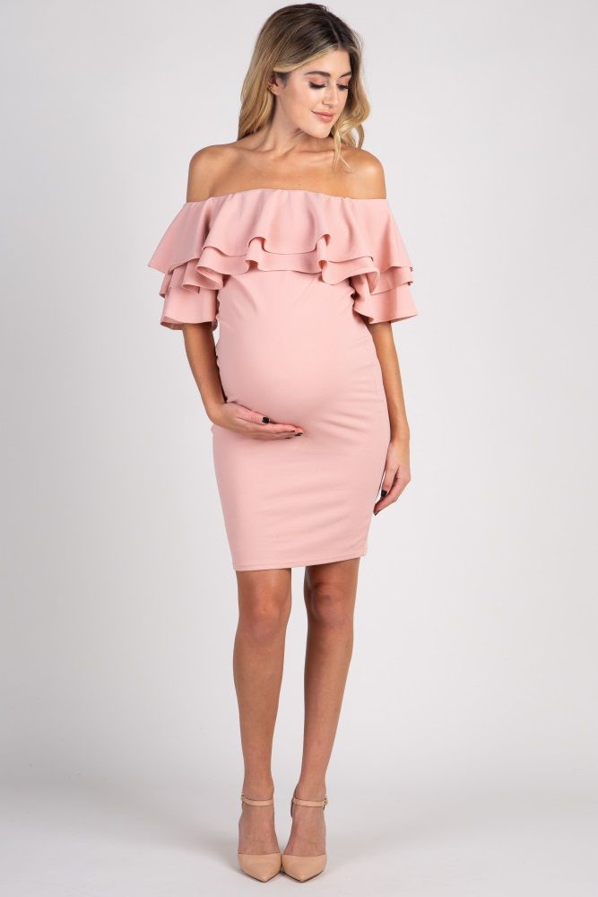 fa0c1d6dbe Light Pink Layered Ruffle Off Shoulder Fitted Maternity Dress ...