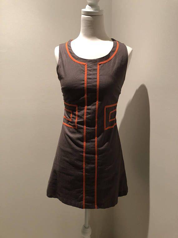 90s Vintage Dress, 60s Inspired Mod Dress, Brown/Grey Orange Dress