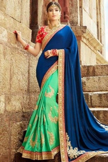 029cc8e7e1db1 Chiffon Jute And Art Silk Saree With Art Silk Blouse In Royal Blue And Turquoise  Blue