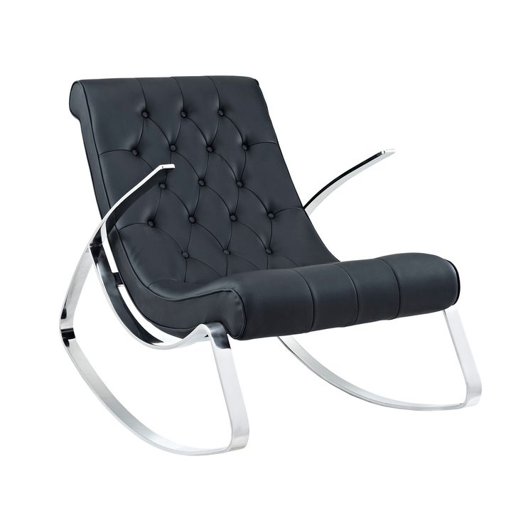 Modway Canoo Lounge Chair Rocker Canoo Lounge Chair Rocker: Honed Chrome  Metal Chair Rocker Leatherette Cushion Measurements: Seat Height Arm Height  Overall ...