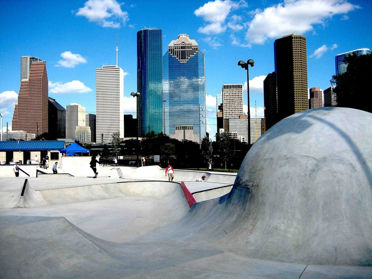 Skate Park Houston - Buffalo Bayou Park. Used to sit on my terrace and watch this thing get built.
