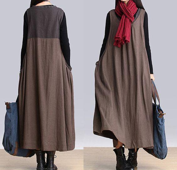 women maxi dress linen dress sundress autumn dress by customsize, $89.00: