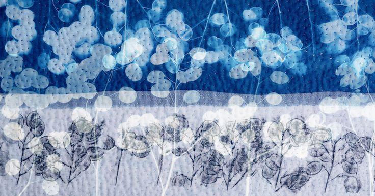 Pauline Burbidge: Visionary moments. Detailed section of 'Honesty Skyline', 2015, 133 x 164 cm. Collaged fabrics & stitch. Photo, Phil Dickson