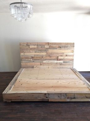 reclaimed wood platform bed base pallet natural twin full queen king cali king california foundation headboard beach house cabin by KaseCustom on Etsy www.etsy.com/…