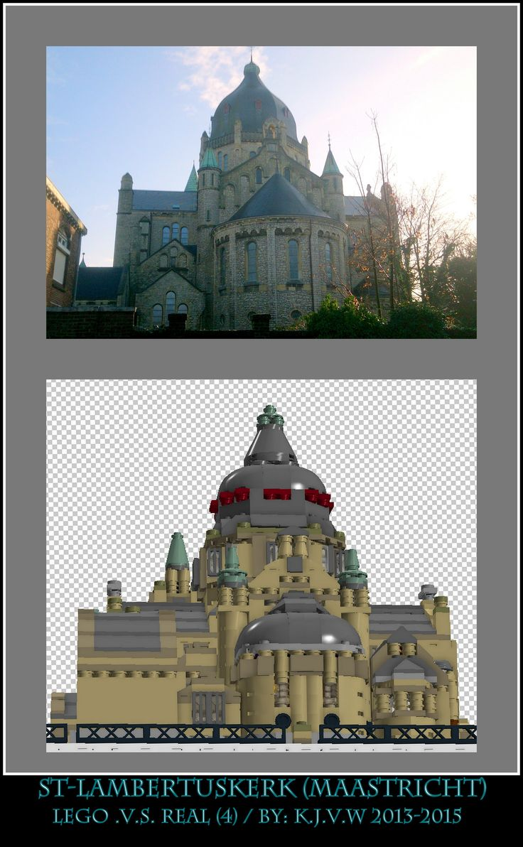 [ st-lambertuskerk lego .v.s. real part 4 ]  4 of the 19 photo's from my collage of St-Lambertuskerk (Maastricht) ((Non-lego))