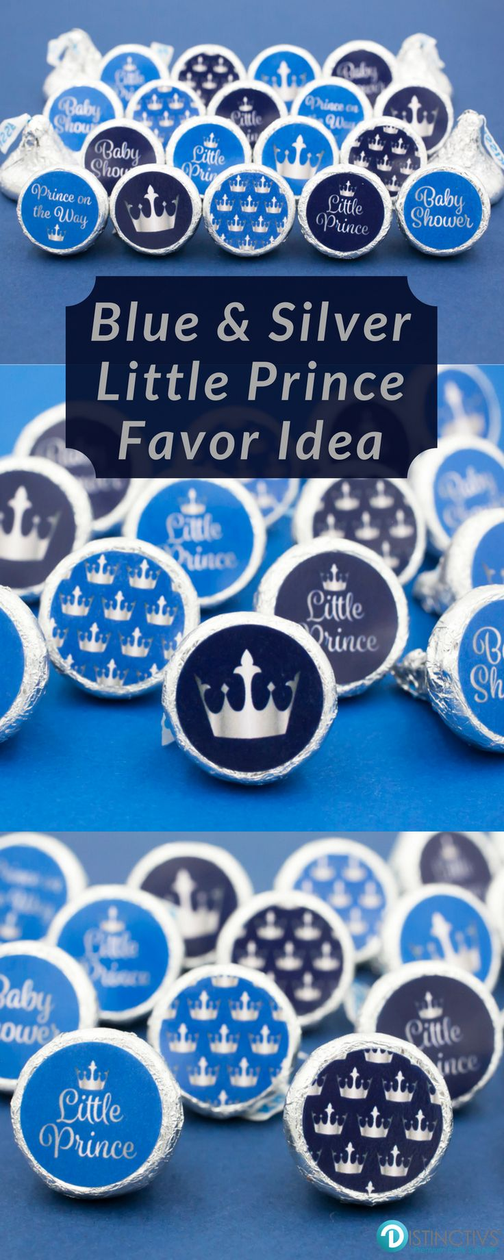 Add these Silver and Blue Little Prince baby shower party favor stickers to a Hershey's Kisses or other small candy for a simple and easy party favor or table decoration.  #princebabyshower