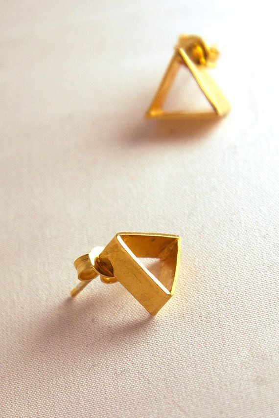 3Dimensional Studs Gold-plated Brass Small cute earrings