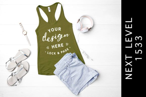 Download Military Green Next Level 1533 Tank Top Graphic By Lockandpage Creative Fabrica Design Mockup Free Psd Mockup Template Mockup Psd