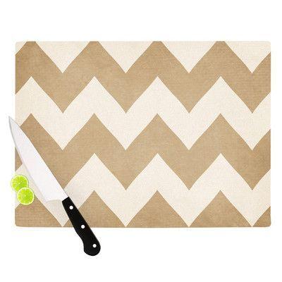 "KESS InHouse Biscotti and Cream by Catherine McDonald Chevron Cutting Board Size: 0.5"" H x 11"" W x 7.5"" D"