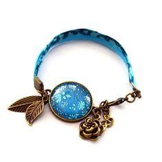 Bracelet liberty bleu turquoise cabochon verre