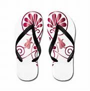 Namaste Tattoo in Ruby Red Flip Flops by Visualizations