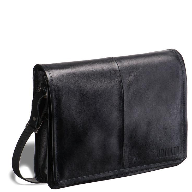 Кожаная сумка через плечо BRIALDI Ancona (Анкона) black     Отличная замена классическому портфелю: вместительная, практичная, не оттягивающая руки. Плечевой ремень прилегает комфортно. Под клапаном два просторных лицевых кармана, один из которых на молнии. Клапан закрывается скрытым магнитом. Вместительное основное отделение содержит органайзер для мобильного телефона, письменных принадлежностей и кредитных карт. В основное отделение прекрасно поместится iPad или нетбук. Внутренняя сторона…