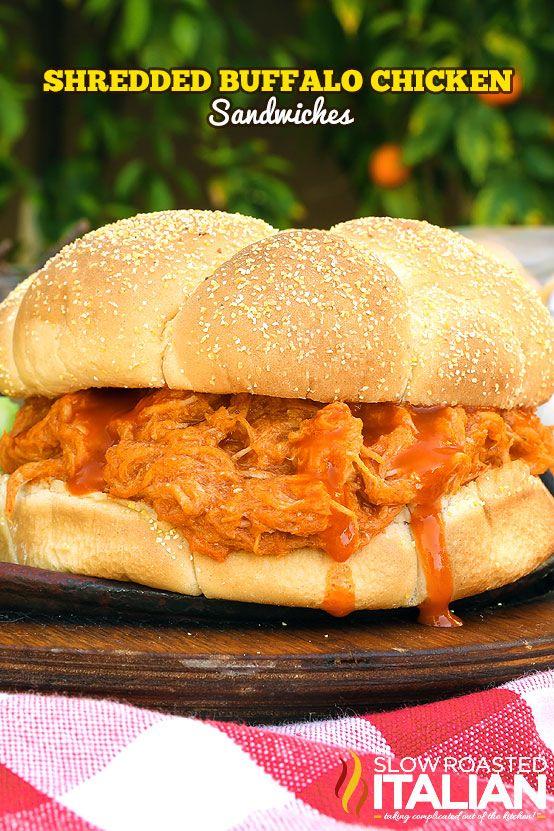 Easy Shredded Buffalo Chicken Sandwiches