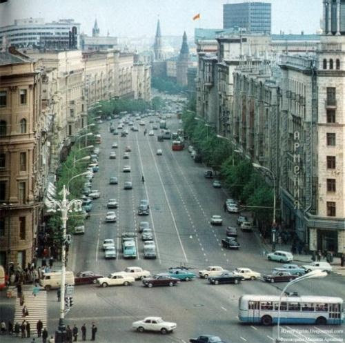 Tverskaya with trees.