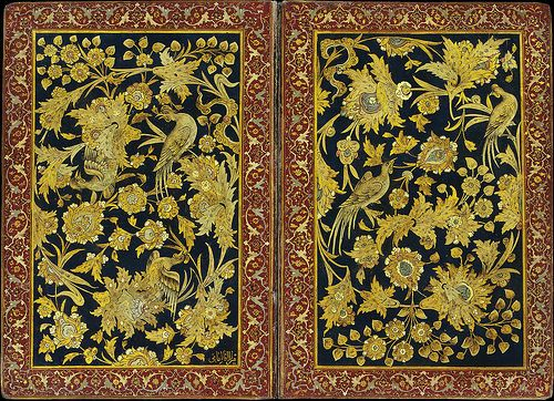 Mirza Aga Emami میرزا آقا امامی نگارگر تولد: 1260 درگذشت: 1356 TWO GILT AND LACQUERED PAPIER-MÂCHÉ COVERS SIGNED MIRZA AGA IMAMI, IRAN, 19TH CENTURY