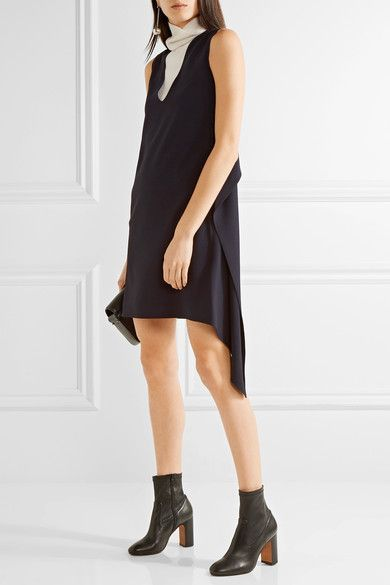 Midnight-blue crepe Slips on 54% viscose, 46% acetate; trim: 100% silk Dry clean Imported