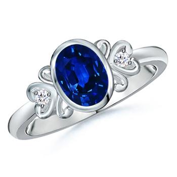Angara Blue Sapphire Vintage Leaf Ring in Platinum QWuaF9jV