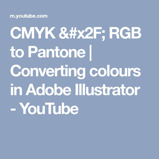 CMYK / RGB to Pantone | Converting colours in Adobe Illustrator - YouTube
