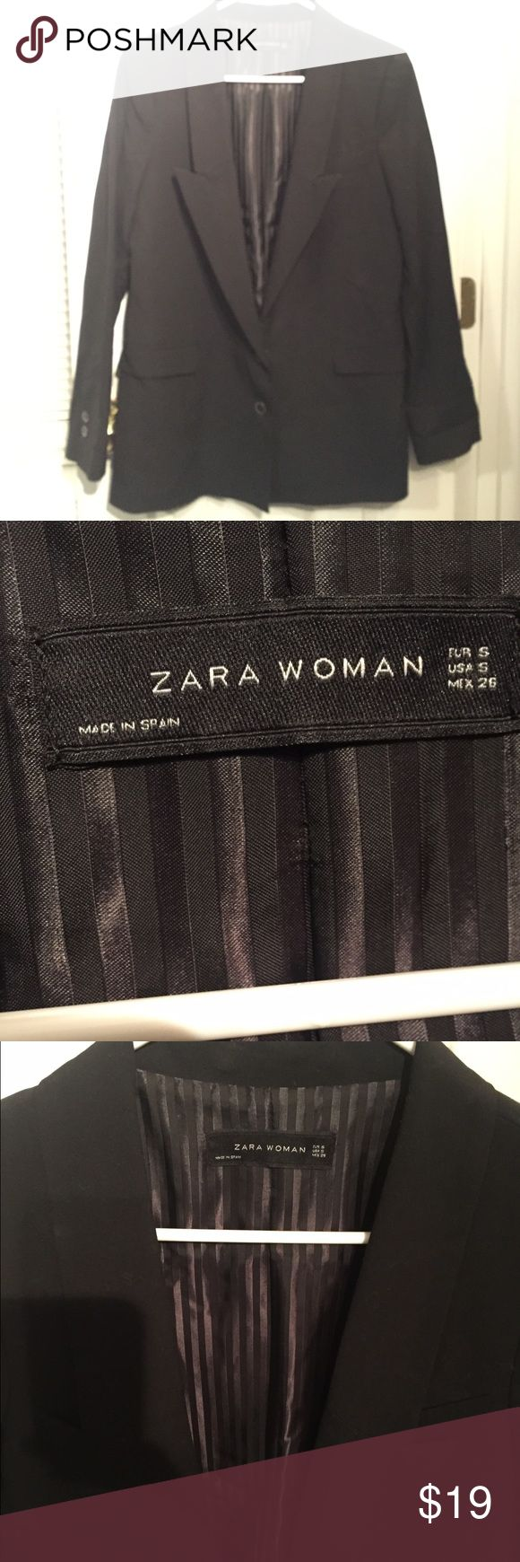 Zara Woman Suit Jacket Solid Black Zara Suite Jacket with inner pinstripe lining detail...may require dry cleaning Zara Jackets & Coats Blazers