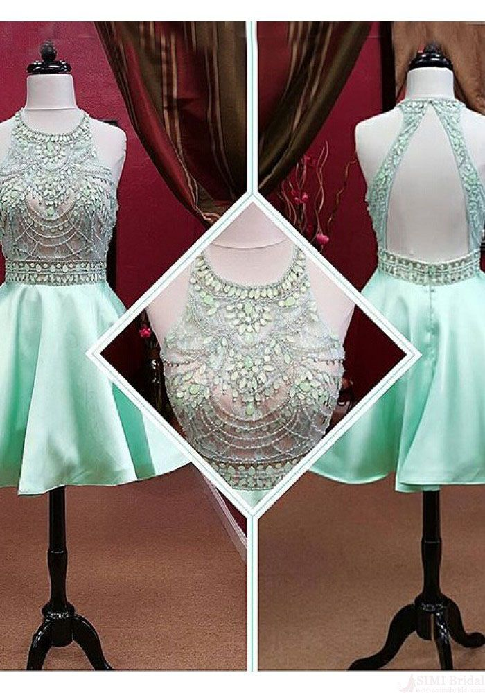 Gorgeous 2016 Scoop Beading Short Mini Mint Homecoming Dresses Prom Gowns Party Dress