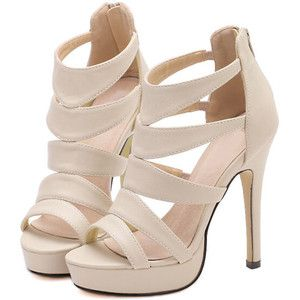 SheIn(sheinside) Camel High Heel Platform PU Sandals