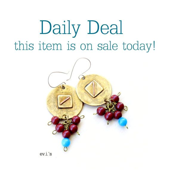 Daily Deal  on 20 sale today Red Blue Jade by EVIsMetalworkJewelry, €27.20