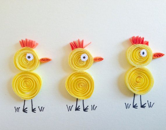 Hey, I found this really awesome Etsy listing at https://www.etsy.com/listing/222957837/quilled-yellow-chicks-card-quilled-art