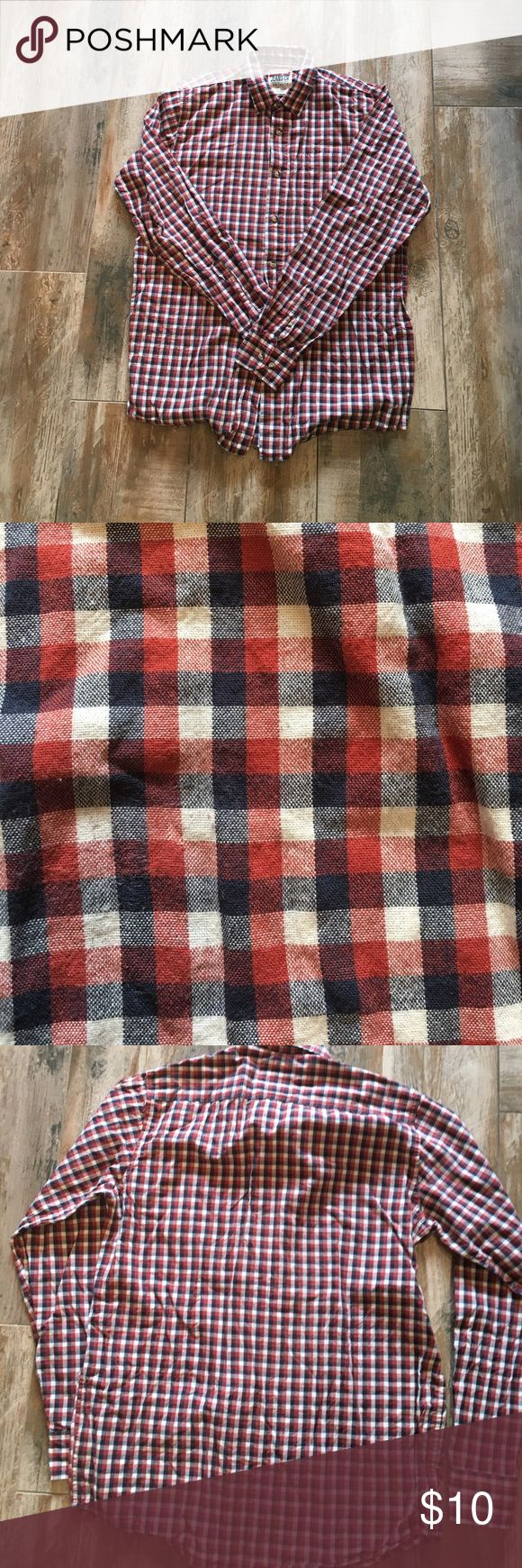 Wrangler navy white and red checkered shirt Wrangler red white and blue checkered shirt. In good used condition. Had one stain where got white out on it. I don't think it's noticeable at this point. 100% cotton. Wrangler Shirts Casual Button Down Shirts